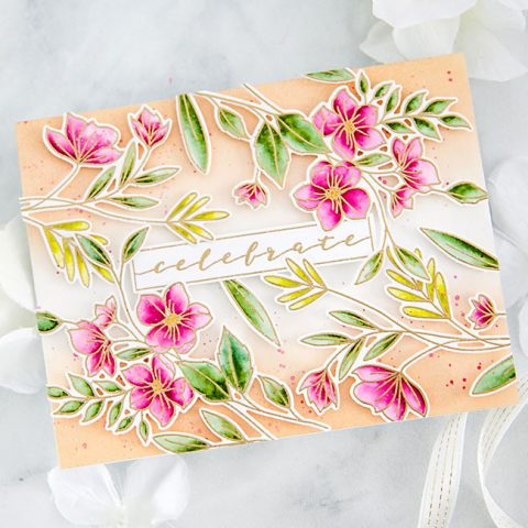 Waffle Flower x Tombow Inspiration: Faux Watercolor Celebrate Card